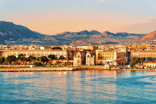 Sunrise at Mediterranian sea Sicily Palermo old city stock photo