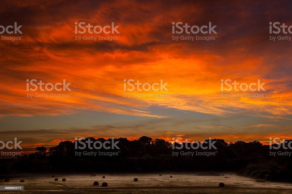 Sunrise at Mill Creek Field stock photo