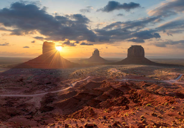 Sunrise at Monument Valley, Arizona stock photo