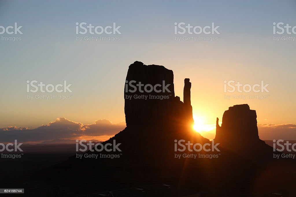 Sunrise at Monument Valley stock photo