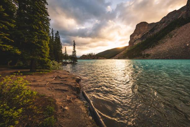 Sunrise at Moraine Lake in Canada stock photo