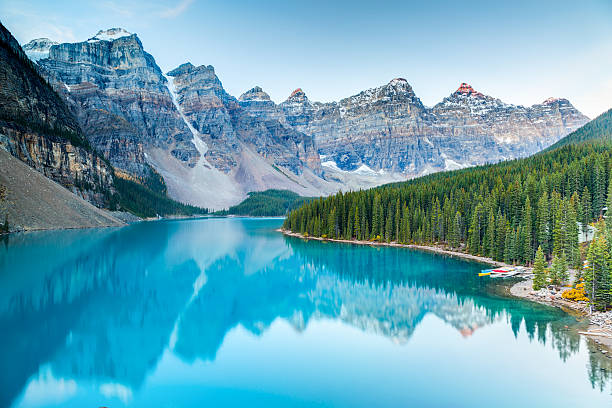 Sunrise at Moraine lake Moraine lake in Banff National Park, Alberta, Canada canadian rockies stock pictures, royalty-free photos & images