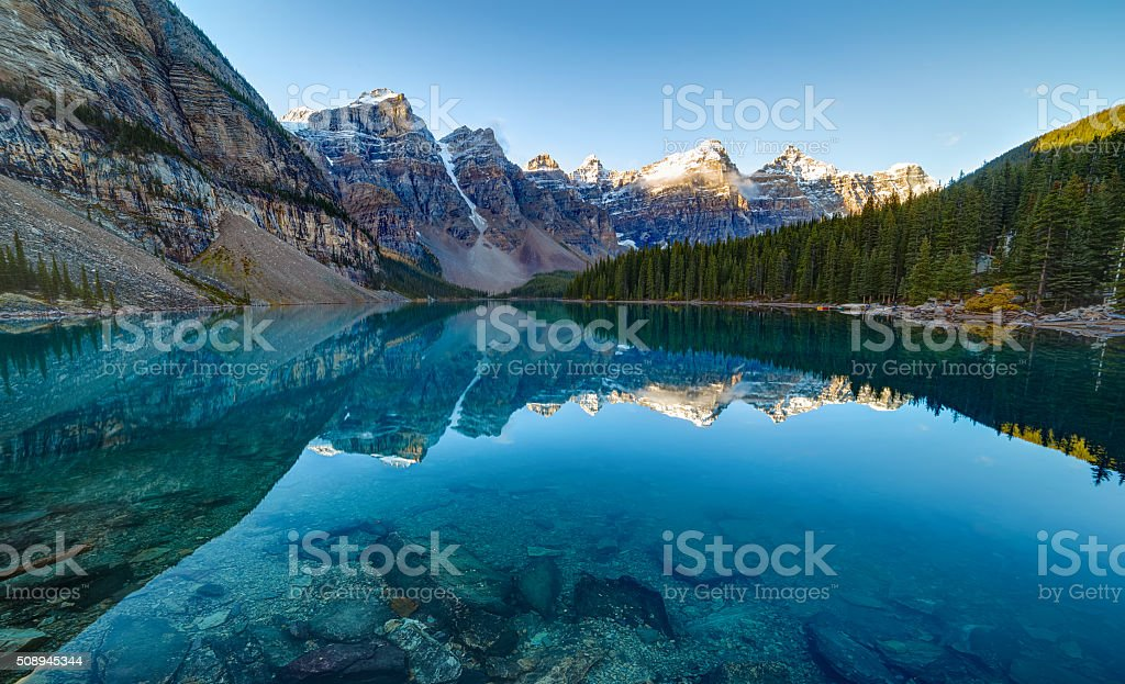 Sunrise at Moraine lake stock photo