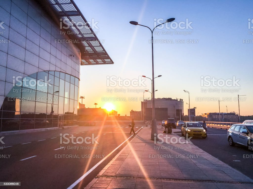 Sunrise at Moscow Sheremetyevo Airport, Russia stock photo