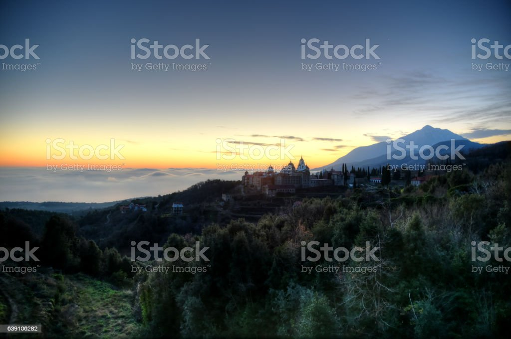 Sunrise at Mount Athos in HDR stock photo