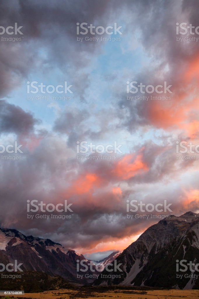 Sunrise at Mount Cook in the Southern Alps of New Zealand stock photo