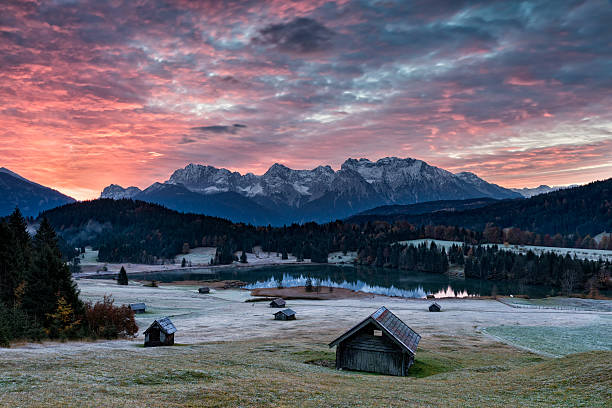 Sunrise at mountain lake in Alps - Geroldssee stock photo