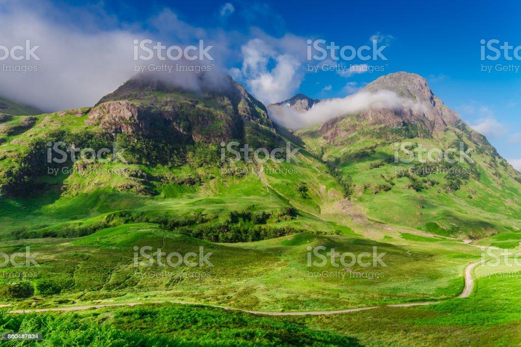 Sunrise at mountains of Glencoe in summer, Scotland stock photo