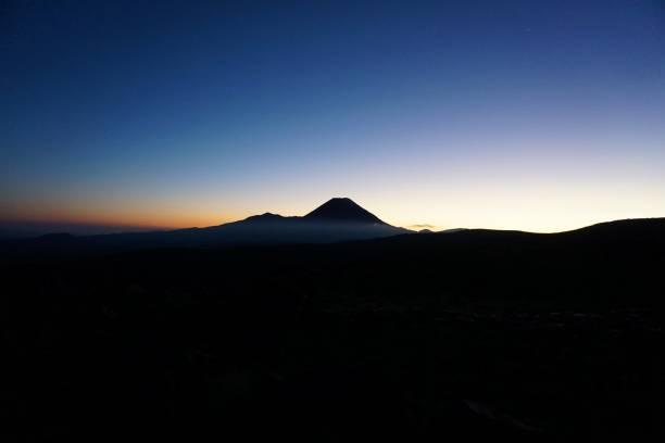 Sunrise at Mt Ngauruhoe, Tongariro National Park, New Zealand stock photo