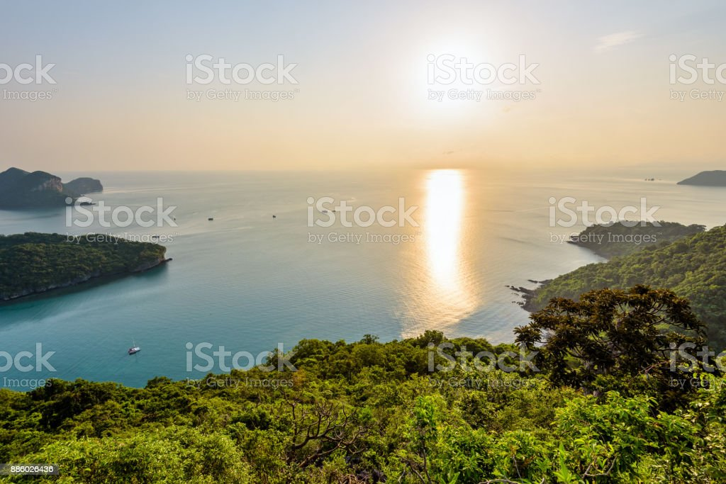 Sunrise at Mu Ko Ang Thong stock photo