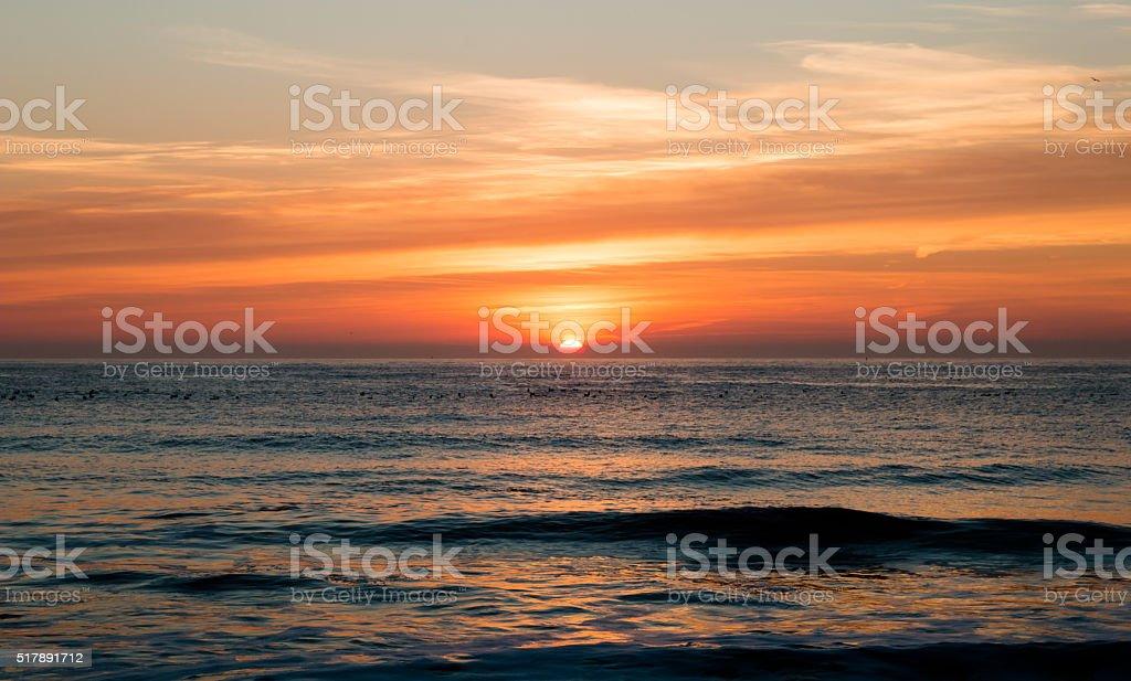 Sunrise at North Sea stock photo