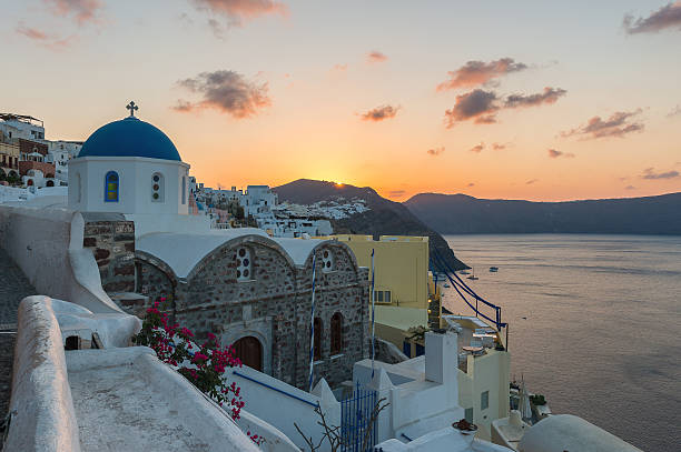 Sunrise at Oia stock photo