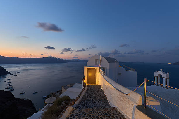 Sunrise at Oia - Santorini , view of caldera stock photo