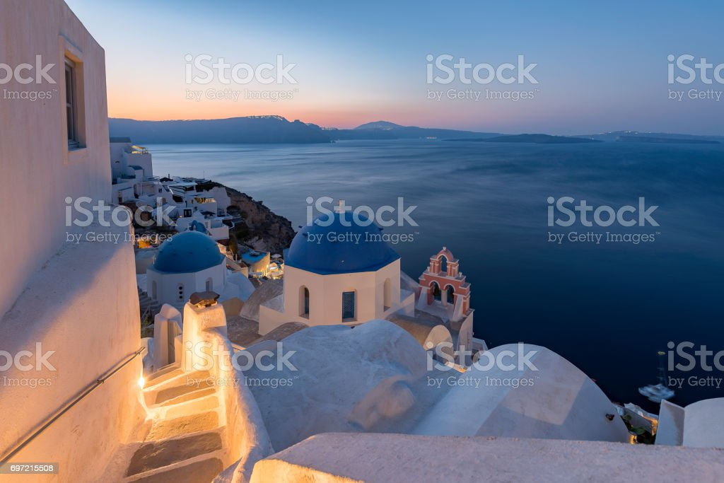 Sunrise at Oia village stock photo
