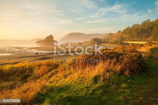 Sunrise by the sea stacks of the Oregon coast, Pacific ocean, Cannon beach