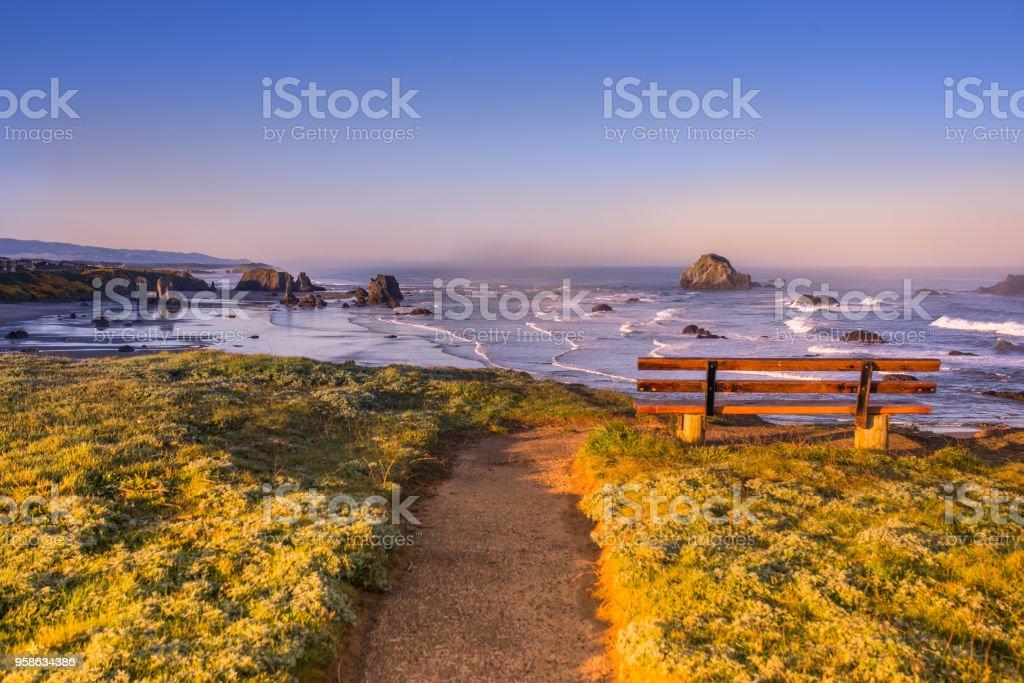 Sunrise at Oregon coast, Pacific ocean stock photo