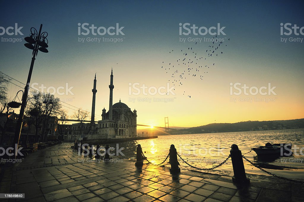 Sunrise at Ortakoy Istanbul stock photo