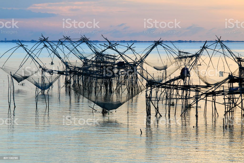 Sunrise at Pakpra,Talay noi Lake, Phatthalung Province, Thailand. stock photo