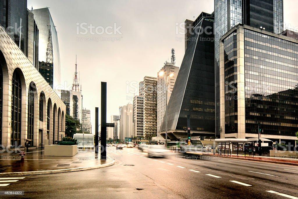 Sunrise at Paulista Avenue stock photo