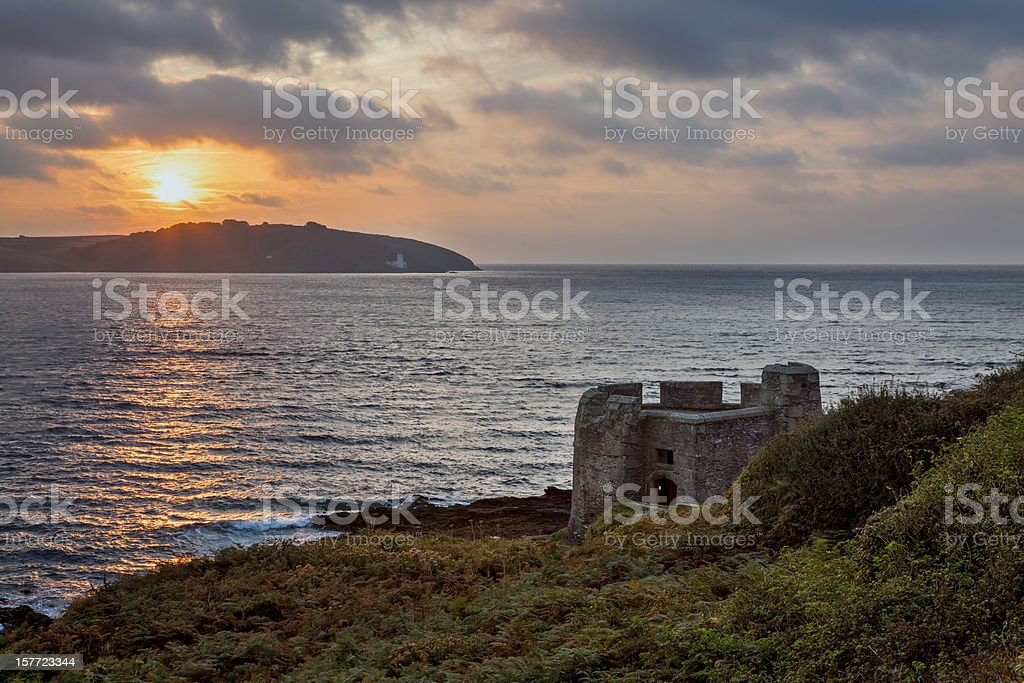 Sunrise at Pendennis Head stock photo