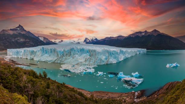 Sunrise at Perito Moreno Glacier in Patagonia, Argentina stock photo