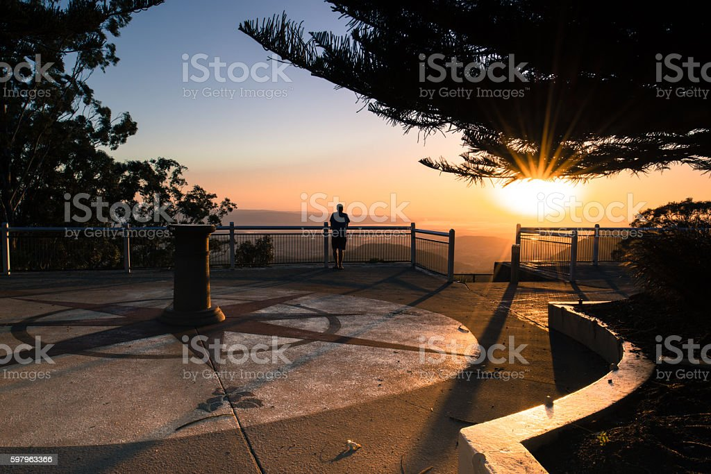 Sunrise at Picnic Point Toowoomba, Queensland stock photo