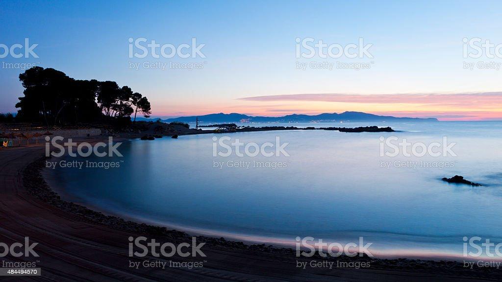 Sunrise at Portitxol Beach near L'Escala stock photo