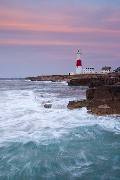 Sunrise at Portland Bill. stock photo