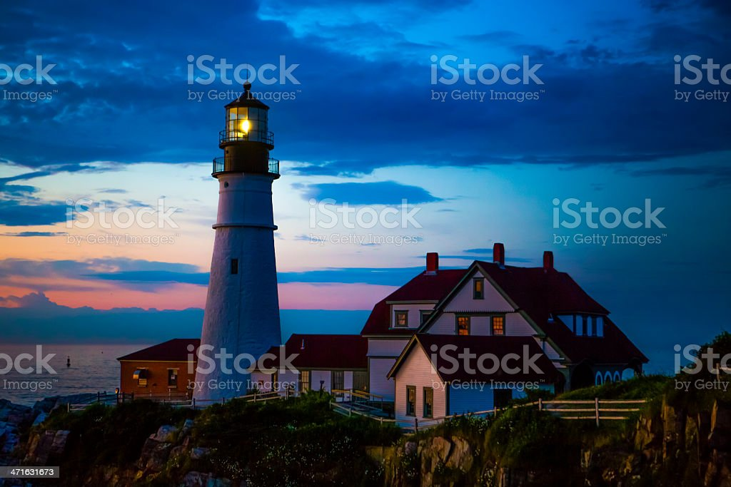 Sunrise at Portland Head Lighthouse royalty-free stock photo
