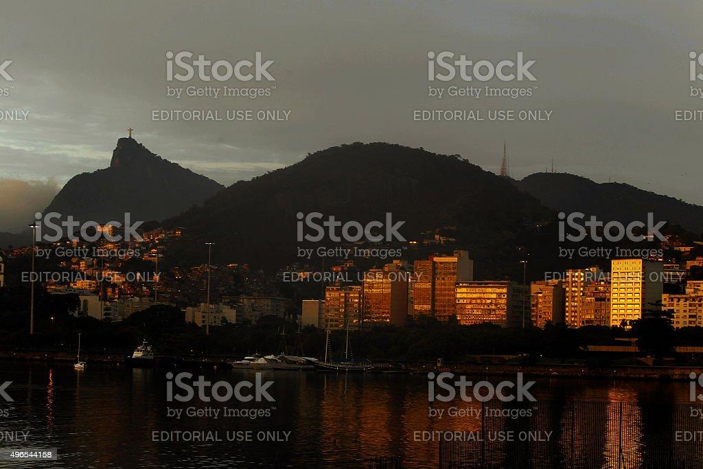 Sunrise at Praia do Flamengo in Rio de Janeiro stock photo