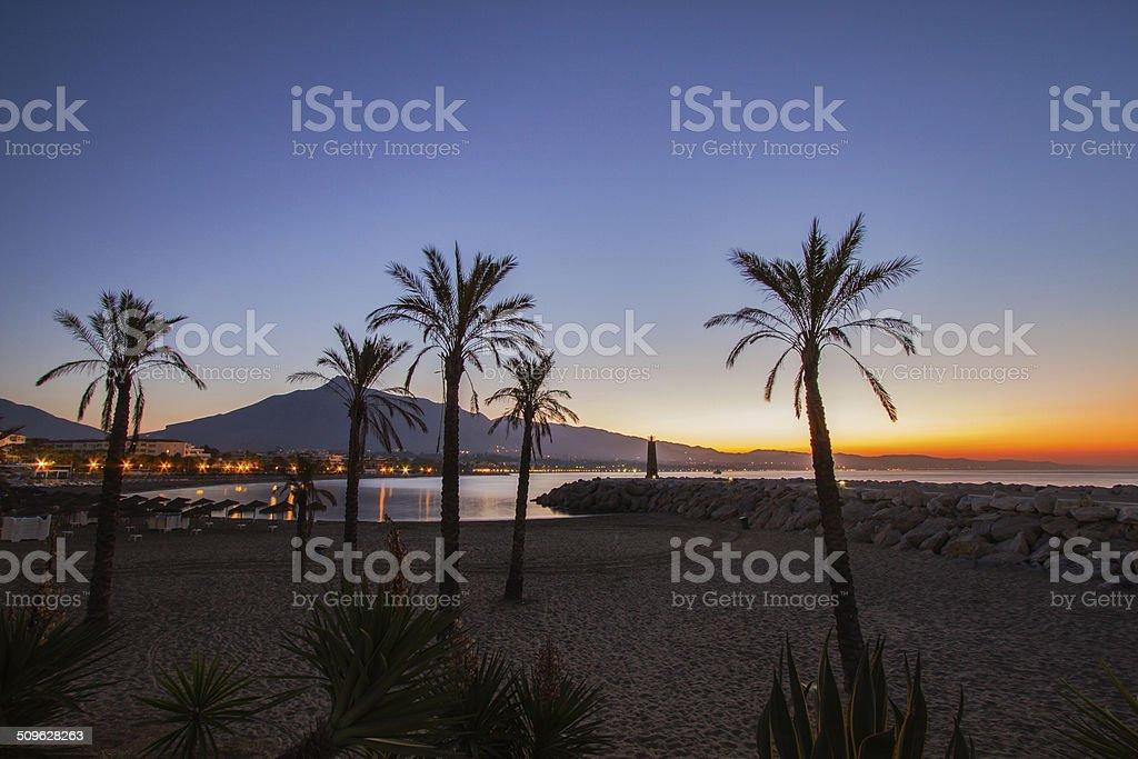 Sunrise at Puerto Banús stock photo