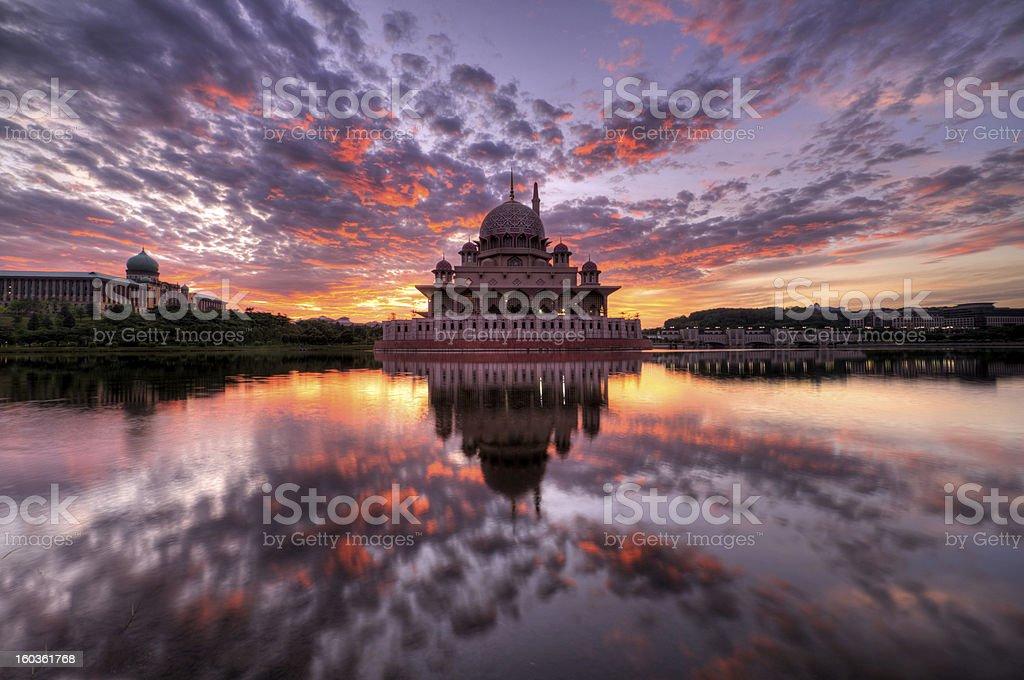Sunrise at Putra Mosque, Putrajaya, Malaysia royalty-free stock photo