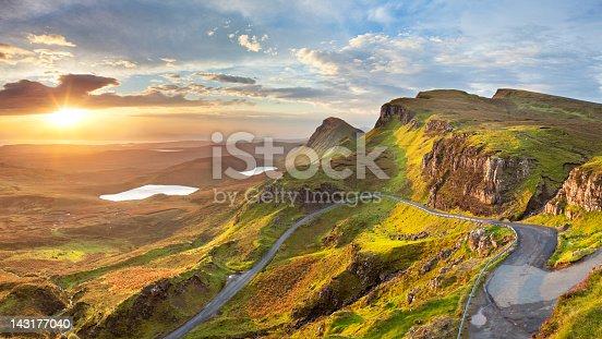 Beautiful light at Quiraing, Isle of Skye, Scotland. A seamlessly stitched panoramic image.