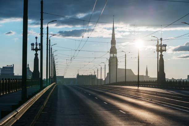 Sunrise at Riga in summer stock photo