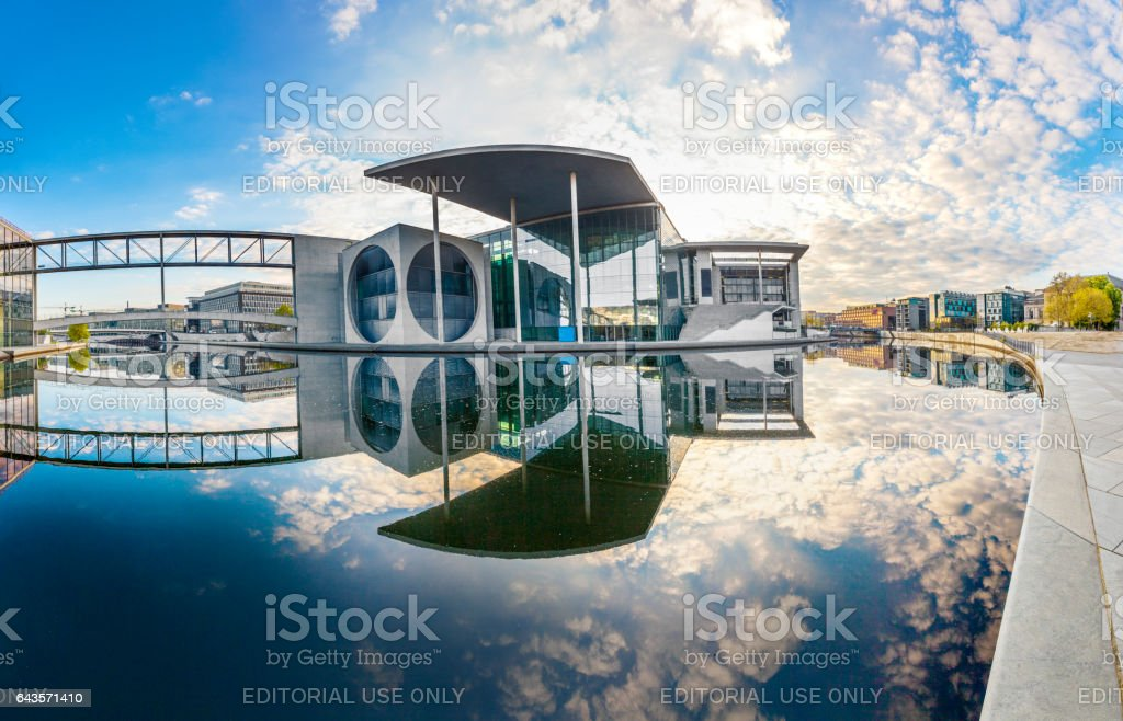 sunrise at river spree with reflection of Paul Loebe Haus stock photo