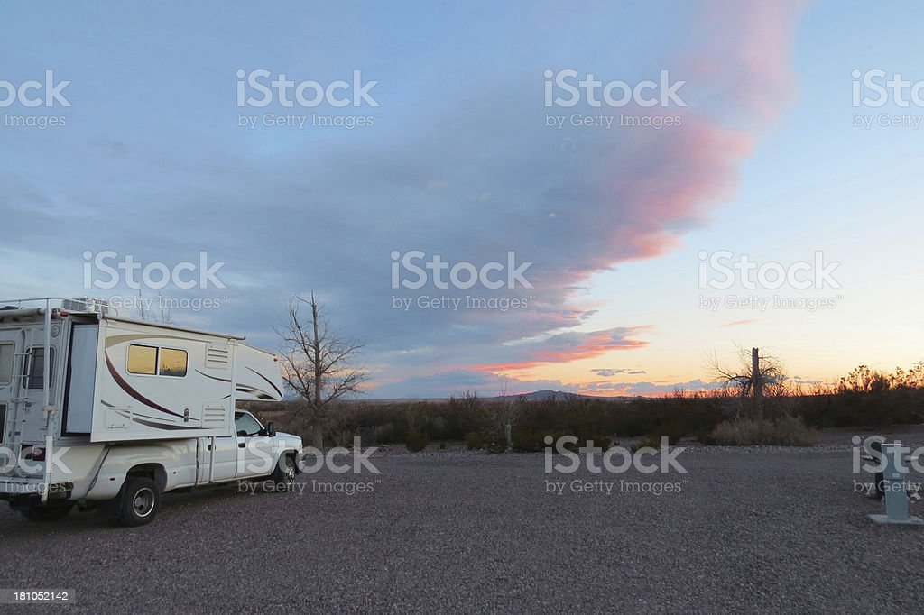 Sunrise at RV park stock photo