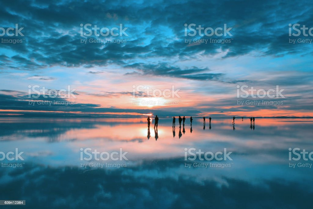 Sunrise at Salar de Uyuni, Bolivia stock photo