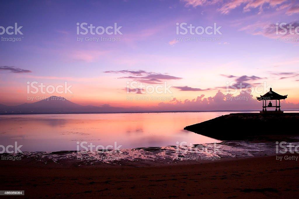 Sunrise at Sanur beach, Bali, Indonesia stock photo