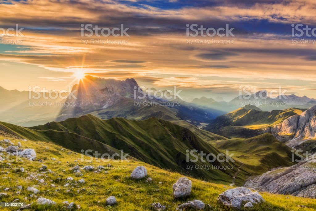 Sunrise at Sassolungo or Langkofel Mountain Group, Dolomites, Trentino, Alto Adige stock photo