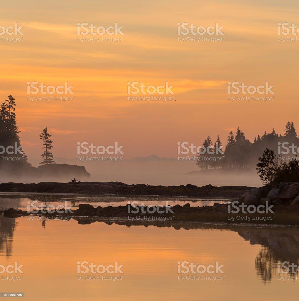 Sunrise at Schoodic Peninsula stock photo