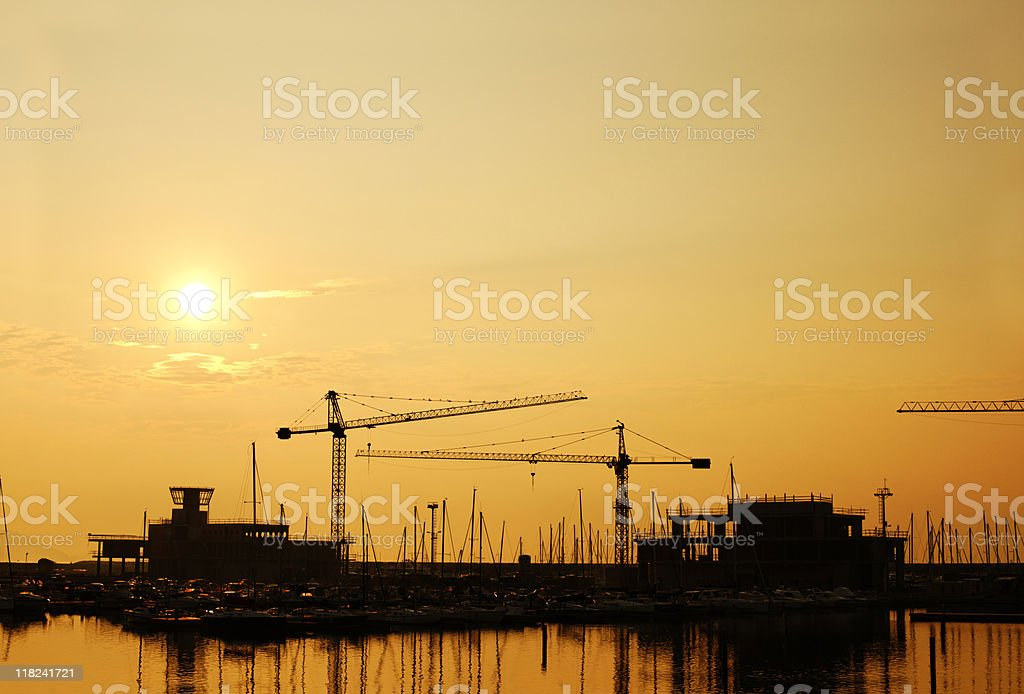 Sunrise at SeaPort. Color Image royalty-free stock photo