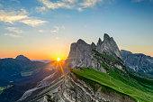 Sunrise at Seceda in Dolomite mountain