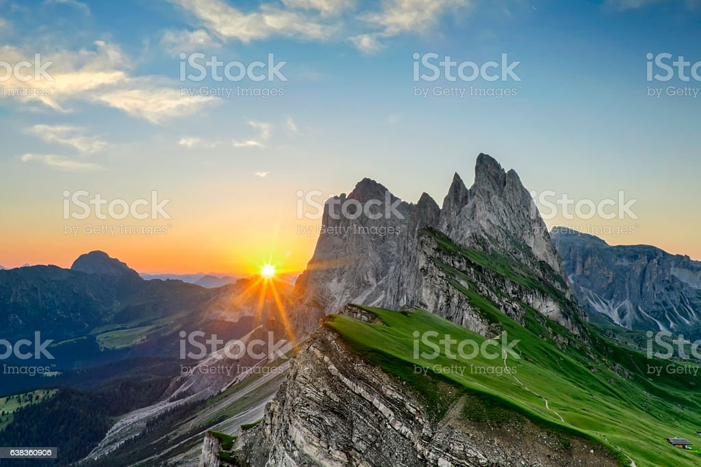 Sunrise at Seceda in south Tirol stock photo