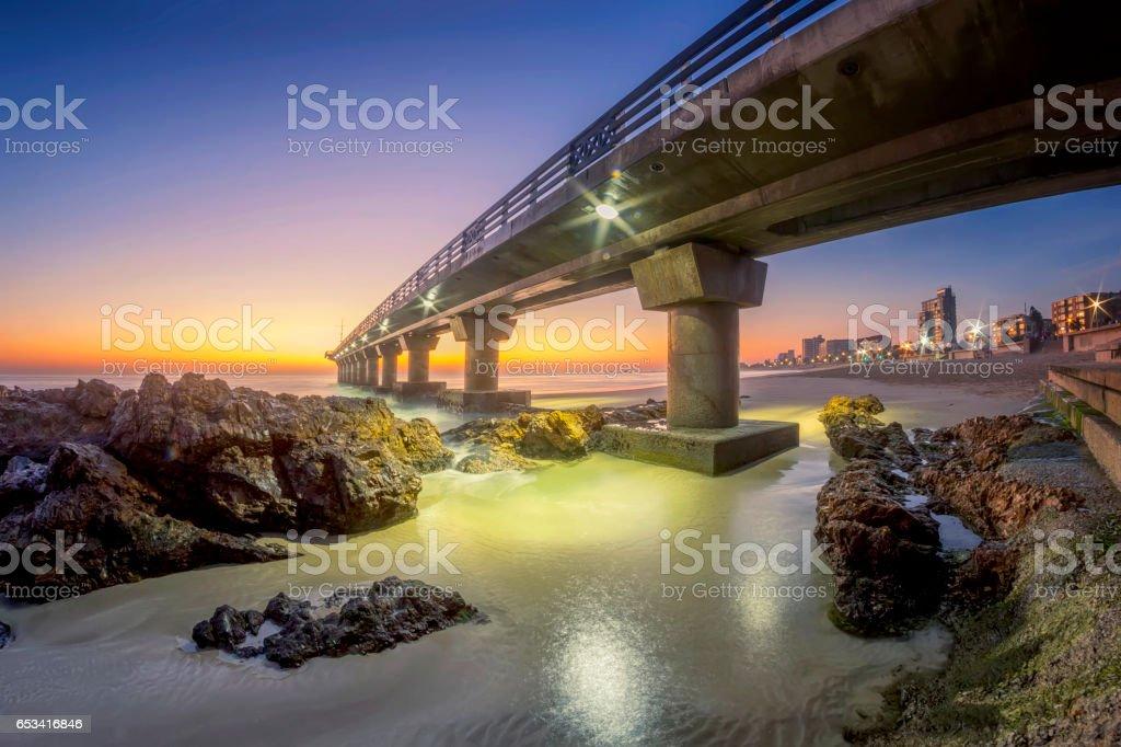 Sunrise at Shark Rock Pier. stock photo
