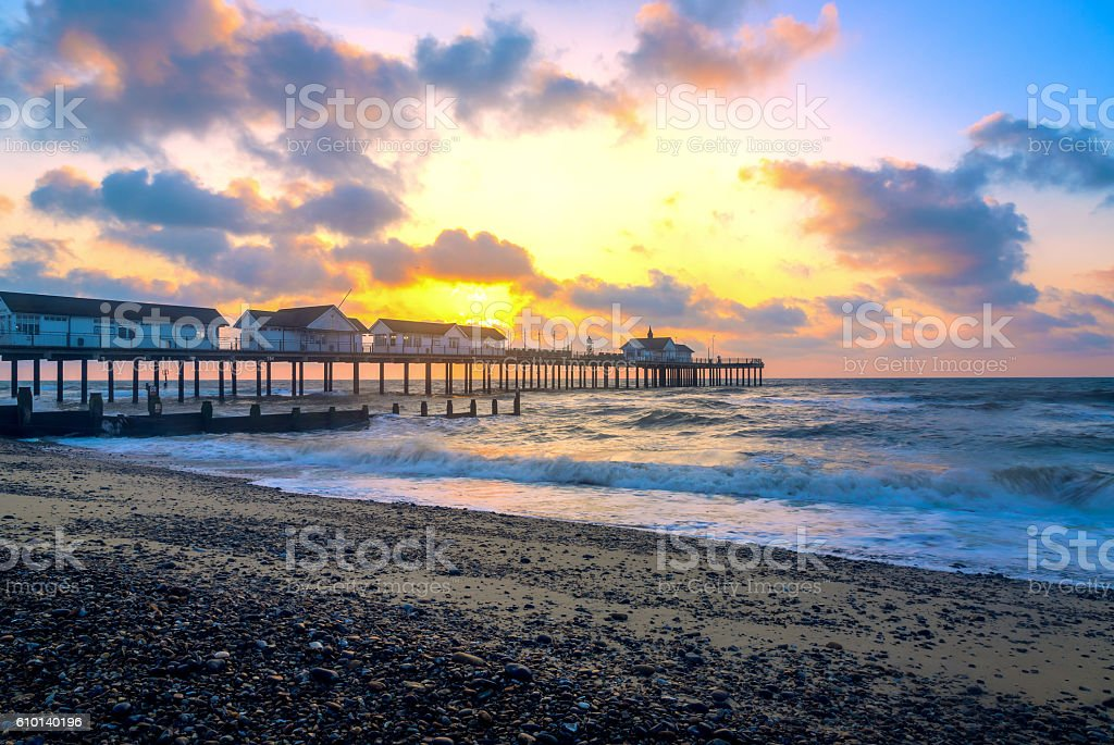 Sunrise at Southwold Pier stock photo