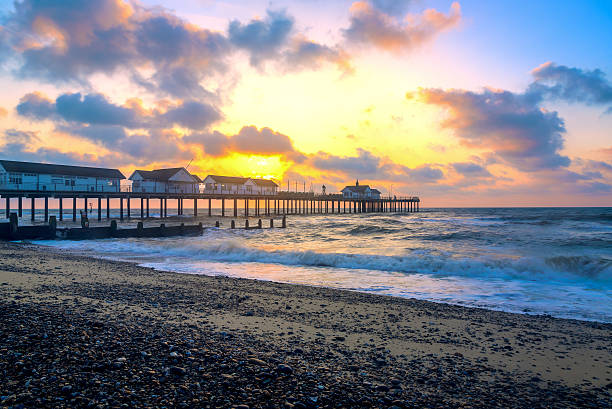 Sunrise at Southwold Pier stock photo