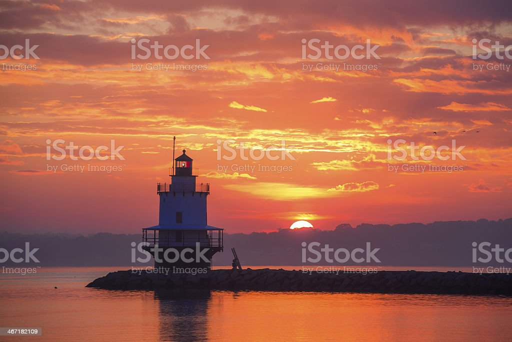 Sunrise at Spring Point Lighthouse royalty-free stock photo