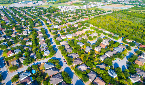 sunrise at suburb - urban sprawl stock photos and pictures