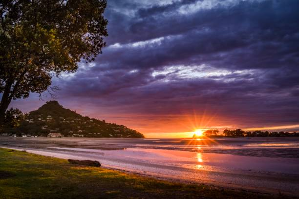 Sunrise at Tairua Harbour, Coromandel New Zealand stock photo