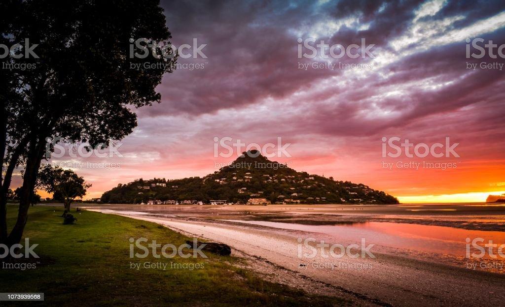 Sunrise at Tairua Harbour, Coromandel New Zealand stock photo